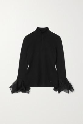 Akris Ruffled Mulberry Silk-blend Sweater - Black