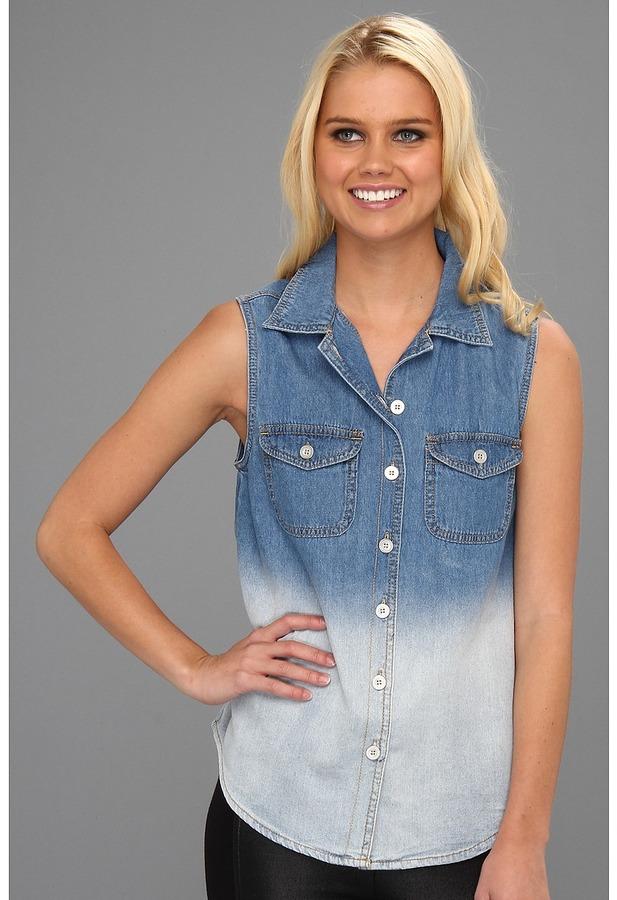MinkPink Blue Collar Denim Shirt (Denim) - Apparel