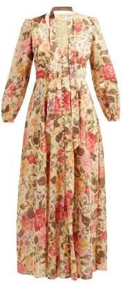 Zimmermann Honour Floral-print Voile Dress - Womens - Pale Yellow
