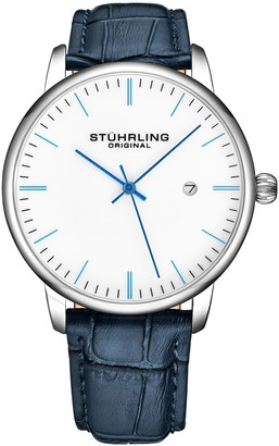 Stuhrling Original Men's Rasa Blue Leather Strap Watch