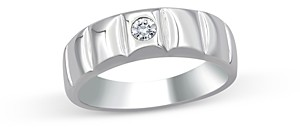 Bloomingdale's Men's Diamond Single Stone Band Ring in 14K White Gold, 0.10 ct. t.w. - 100% Exclusive
