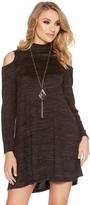 Quiz Charcoal Light Knit Turtle Neck Dress