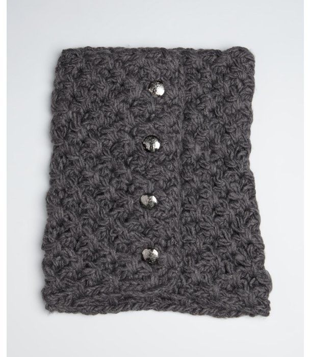 Vince Camuto charcoal heather tuck stitched neckwarmer