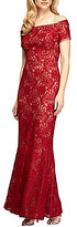 Alex Evenings Lace Off-The-Shoulder Fit-and-Flare Gown