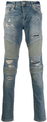 Represent ripped skinny-fit jeans