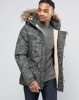 Pull&Bear Parka Jacket With Detachable Faux Fur Hood In Camo