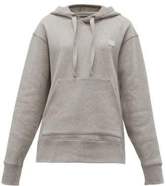 Acne Studios Ferris Face Logo-patch Cotton Hooded Sweatshirt - Womens - Light Grey