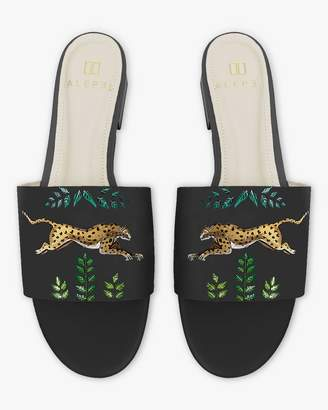 Alepel Hand Painted Golden Leopards Slide Sandals