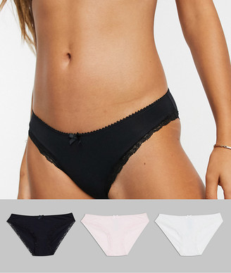 Dorina Exclusive Lianne organic cotton 3 pack knickers in black white and pink