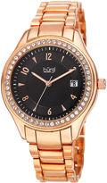 Burgi Womens Blue Rose-Tone Bracelet Watch