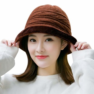 IBLUELOVER Wool Felt Cloche Hat Warm Winter Knit Bucket Cap for Women 1920s Vintage Fashionable Derby Church Bowler Hat Packable 54-60cm Brown