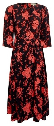 Dorothy Perkins Womens **Billie & Blossom Red Floral Print Midi Skater Dress