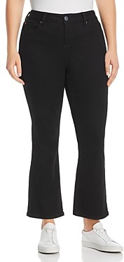 Slink Jeans Plus High-Rise Flared Ankle Jeans in Solid Black
