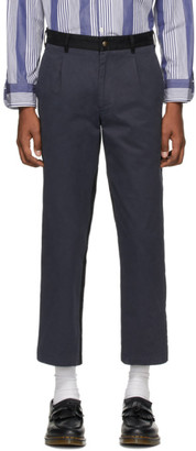 Noah NYC Navy and Black Single-Pleat Chino Trousers