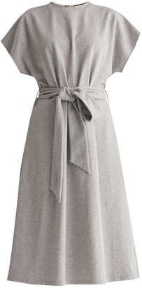 Paisie Jersey Dress With Self Belt In Light Grey