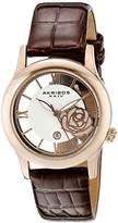Akribos XXIV Women's AK837RGBR Quartz Movement Watch with Rose Gold and See Thru Flower Dial and Brown Leather Strap