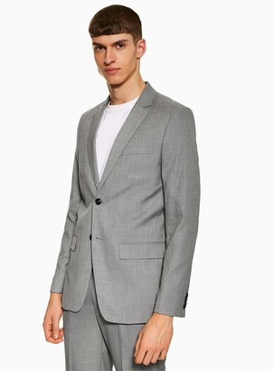 Topman Grey Marl Slim Fit Single Breasted Blazer With Notch Lapels