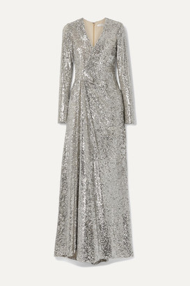 Reem Acra Wrap-effect Sequined Tulle Gown - Silver