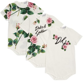 Dolce & Gabbana Kids Set of 3 Tropical Rose Bodysuits (0-24 Months)