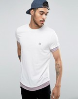 Le Breve Longline T-shirt Curved Hem With Contrast Sleeve