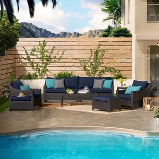 Three Posts Northridge 8 Piece Rattan Sofa Seating Group with Sunbrella Cushions Cushion Color: Royal Blue