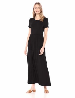 Amazon Essentials Women's Solid Short-Sleeve Waisted Maxi Dress