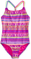 Breaking Waves 1-Pc. Charmazing Mixed-Print Swimsuit, Big Girls (7-16)