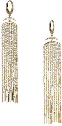 Celara 14K Yellow Gold Long Fringe Huggie Hoop Earrings