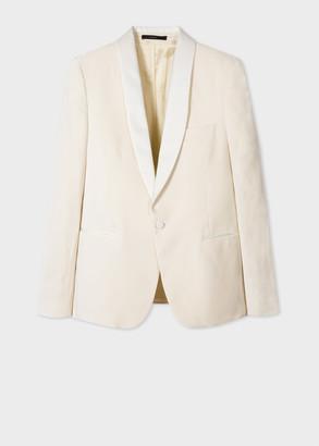 Men's Tailored-Fit Cream Velvet Evening Blazer