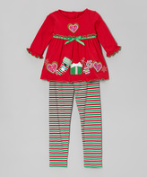 Good Lad Red Christmas Cookie Tee & Stripe Leggings - Toddler & Girls