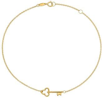 14K Gold Skeleton Key Ankle Bracelet, 1.2g