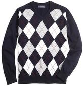 Brooks Brothers Cashmere Argyle V-Neck Sweater