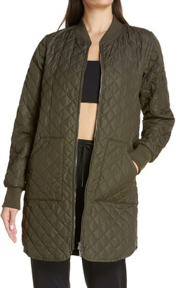 Zella Longline Quilted Bomber Jacket