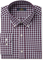Club Room Men's Classic/Regular Fit Big & Tall Wrinkle Resistant Navy Red Square Check Dress Shirt, Only at Macy's