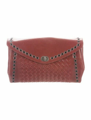 Bottega Veneta Intrecciato Envelope Clutch Red