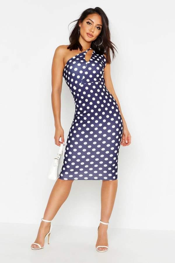 boohoo Spot One Shoulder Split Dress