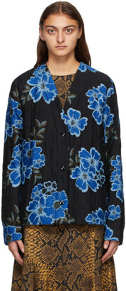 Dries Van Noten Black and Blue Floral Jacket