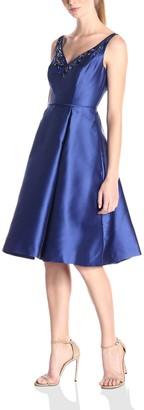 Adrianna Papell Women's V-Neck Beaded Mikado Short Party Dress