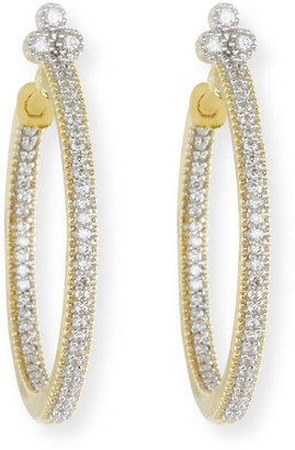 Jude Frances Provence Medium Pave Diamond Hoop Earrings