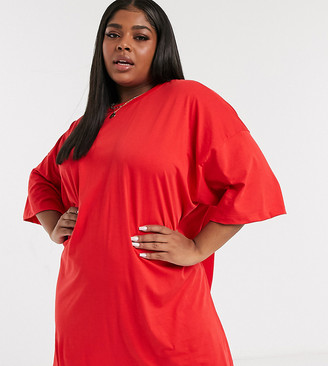 ASOS DESIGN Curve oversized T-shirt dress in bright red