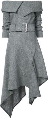 Monse off shoulder herringbone dress