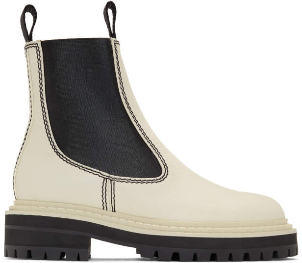 5572d9f4 White and Black Lug Sole Chelsea Boots