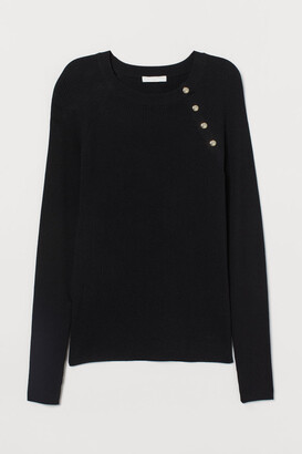 H&M Rib-knit Sweater - Black