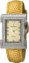 Peugeot Women'S Square Silver-Tone Crystal Bezel Leather Strap Watch 344MS