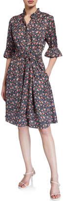 Rebecca Taylor Twilight Bloom Silk Twill Dress