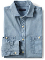 Classic Men's Tailored Fit Chambray Shirt-Deep Blue Indigo