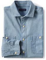 Lands' End Men's Tall Tailored Fit Chambray Shirt-Deep Blue Indigo