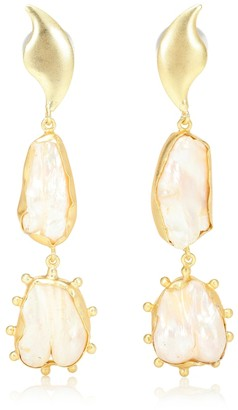 EOS 14kt gold-plated earrings with Baroque pearls