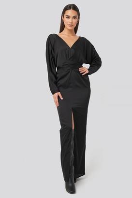 NA-KD Belted Batwing Sleeve Maxi Dress Beige