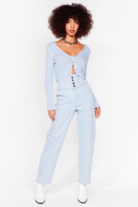 Nasty Gal Womens Ready Corset Go High-Waisted Mom Jeans - Blue - 8